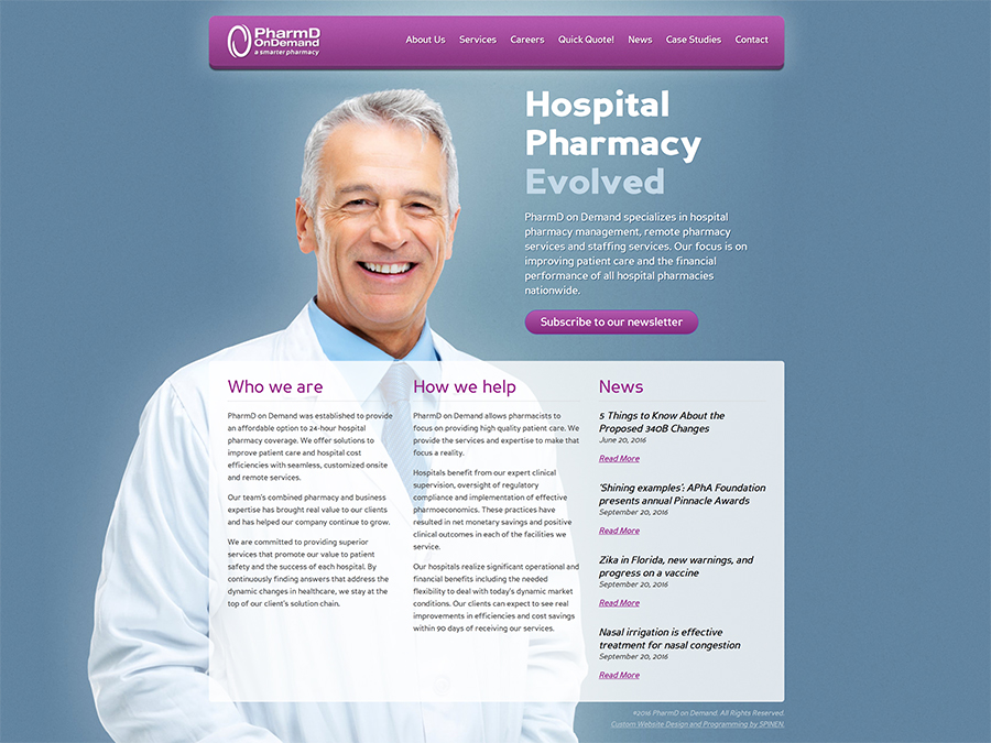 Pharm D OnDemand Web Design Screenshot