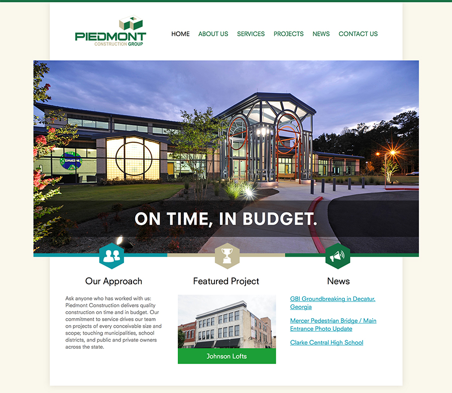 Piedmont Construction Web Design Screenshot