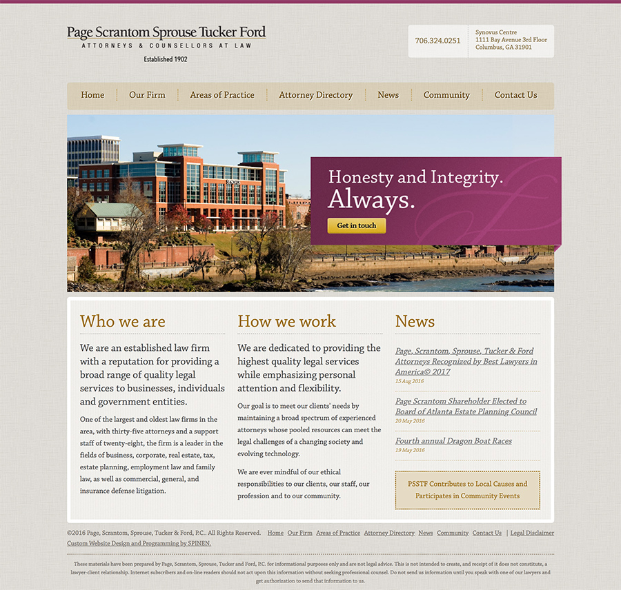 PSSTF Web Design Screenshot